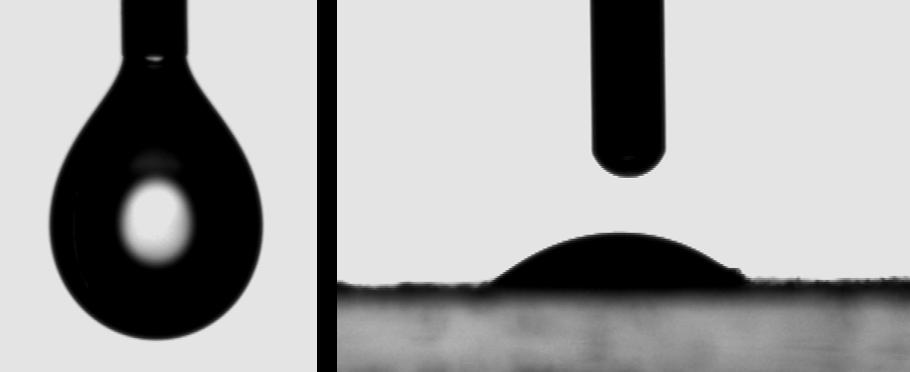 Figura 4: Experimentos de tensão interfacial e ângulo de contato<br/>FONTE: BIOPOL, (2020).